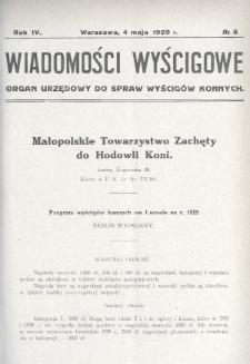Wiadomości Wyścigowe : organ urzędowy do spraw wyścigów konnych. 1929, nr5