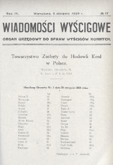 Wiadomości Wyścigowe : organ urzędowy do spraw wyścigów konnych. 1929, nr17