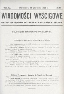 Wiadomości Wyścigowe : organ urzędowy do spraw wyścigów konnych. 1929, nr19