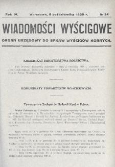 Wiadomości Wyścigowe : organ urzędowy do spraw wyścigów konnych. 1929, nr24
