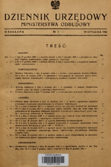 Dziennik Urzędowy Ministerstwa Odbudowy. 1947, nr 1