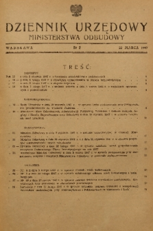 Dziennik Urzędowy Ministerstwa Odbudowy. 1947, nr 2