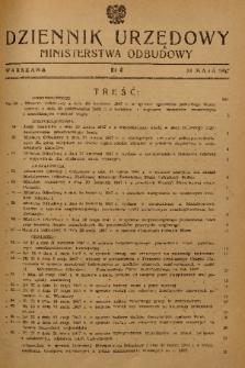 Dziennik Urzędowy Ministerstwa Odbudowy. 1947, nr 4