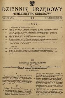 Dziennik Urzędowy Ministerstwa Odbudowy. 1947, nr 8