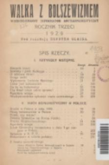 Walka z Bolszewizmem : wszechstronny informator antykomunistyczny. 1929, Spis rzeczy