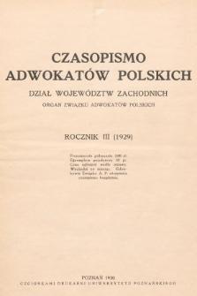Czasopismo Adwokatów Polskich : Dział Województw Zachodnich : organ Związku Adwokatów Polskich. 1930/1931, Rocznik III (1929)/Rocznik IV (1930), spis rzeczy