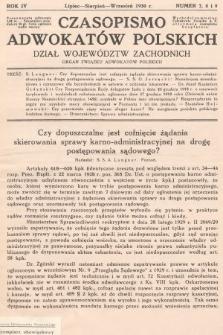Czasopismo Adwokatów Polskich : Dział Województw Zachodnich : organ Związku Adwokatów Polskich. 1930, nr7, 8 i 9