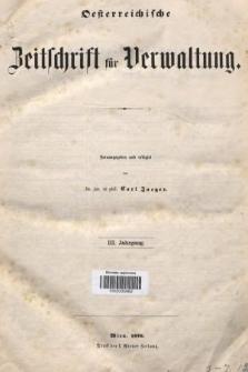 Oesterreichische Zeitschrift für Verwaltung. Jg. 3, 1870, indeksy