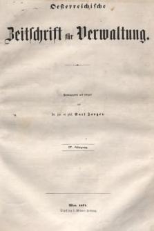 Oesterreichische Zeitschrift für Verwaltung. Jg. 4, 1871, nr1
