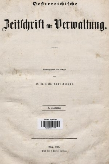 Oesterreichische Zeitschrift für Verwaltung. Jg. 5, 1872, indeksy