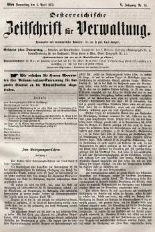Oesterreichische Zeitschrift für Verwaltung. Jg. 5, 1872, nr14