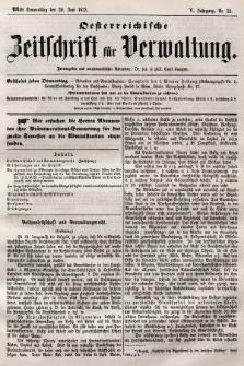 Oesterreichische Zeitschrift für Verwaltung. Jg. 5, 1872, nr25