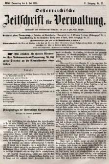 Oesterreichische Zeitschrift für Verwaltung. Jg. 5, 1872, nr27