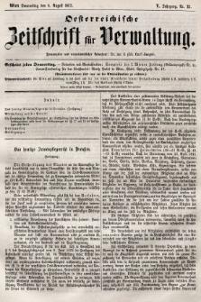 Oesterreichische Zeitschrift für Verwaltung. Jg. 5, 1872, nr32