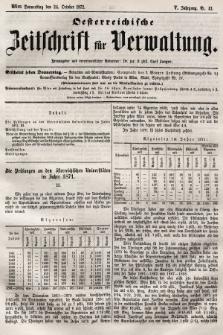 Oesterreichische Zeitschrift für Verwaltung. Jg. 5, 1872, nr43