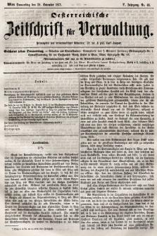Oesterreichische Zeitschrift für Verwaltung. Jg. 5, 1872, nr48