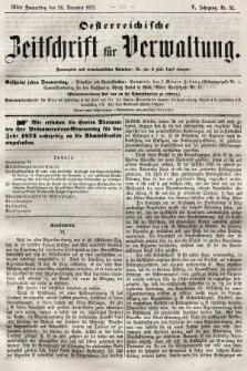 Oesterreichische Zeitschrift für Verwaltung. Jg. 5, 1872, nr52