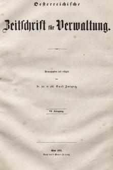 Oesterreichische Zeitschrift für Verwaltung. Jg. 6, 1873, indeksy
