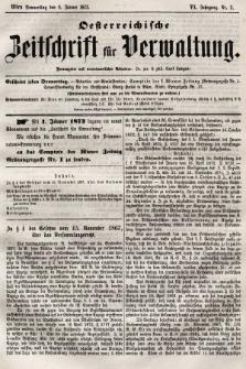Oesterreichische Zeitschrift für Verwaltung. Jg. 6, 1873, nr2
