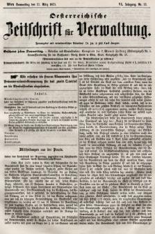 Oesterreichische Zeitschrift für Verwaltung. Jg. 6, 1873, nr13