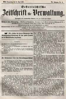 Oesterreichische Zeitschrift für Verwaltung. Jg. 6, 1873, nr15