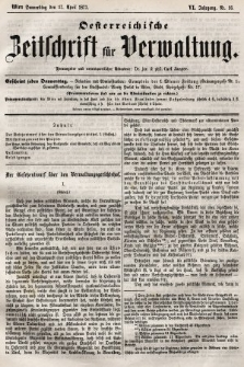 Oesterreichische Zeitschrift für Verwaltung. Jg. 6, 1873, nr16