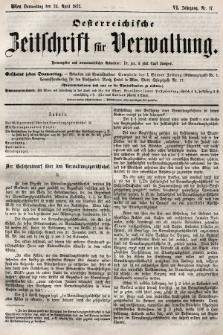 Oesterreichische Zeitschrift für Verwaltung. Jg. 6, 1873, nr17