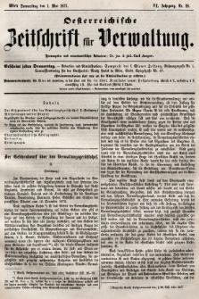Oesterreichische Zeitschrift für Verwaltung. Jg. 6, 1873, nr18