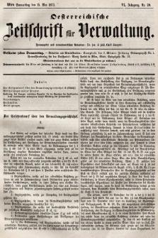 Oesterreichische Zeitschrift für Verwaltung. Jg. 6, 1873, nr20
