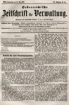 Oesterreichische Zeitschrift für Verwaltung. Jg. 6, 1873, nr21