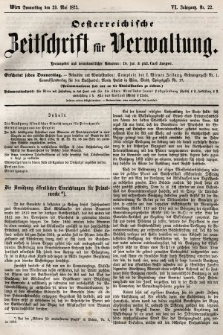 Oesterreichische Zeitschrift für Verwaltung. Jg. 6, 1873, nr22