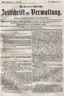 Oesterreichische Zeitschrift für Verwaltung. Jg. 6, 1873, nr23