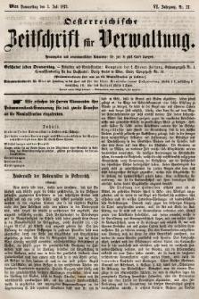 Oesterreichische Zeitschrift für Verwaltung. Jg. 6, 1873, nr27