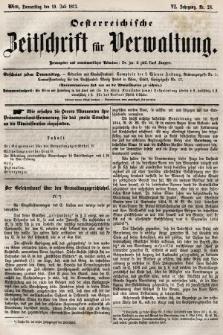 Oesterreichische Zeitschrift für Verwaltung. Jg. 6, 1873, nr28
