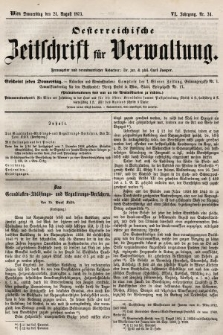 Oesterreichische Zeitschrift für Verwaltung. Jg. 6, 1873, nr34
