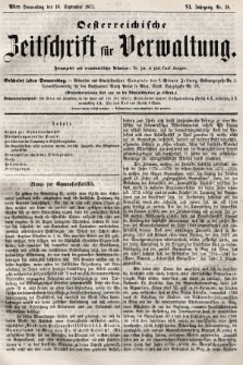 Oesterreichische Zeitschrift für Verwaltung. Jg. 6, 1873, nr38