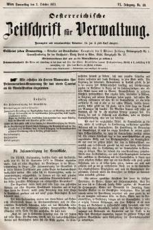 Oesterreichische Zeitschrift für Verwaltung. Jg. 6, 1873, nr40
