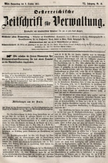 Oesterreichische Zeitschrift für Verwaltung. Jg. 6, 1873, nr41