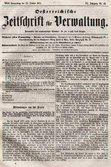 Oesterreichische Zeitschrift für Verwaltung. Jg. 6, 1873, nr43