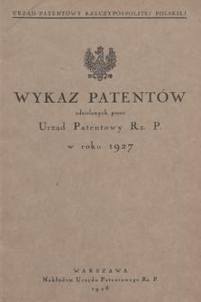 Wykaz Patentów Udzielonych przez Urząd Patentowy Rz. P. w Roku 1927