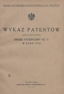Wykaz Patentów Udzielonych przez Urząd Patentowy Rz. P. w Roku 1936