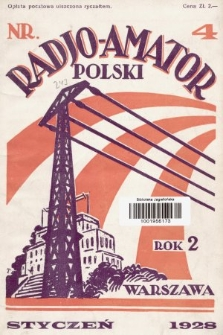 Radjo Amator Polski : miesięcznik. 1928, nr4