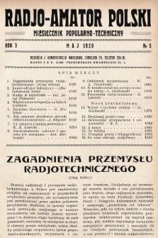 Radjo-Amator Polski : miesięcznik popularno-techniczny. 1929, nr5