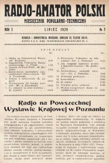 Radjo-Amator Polski : miesięcznik popularno-techniczny. 1929, nr7