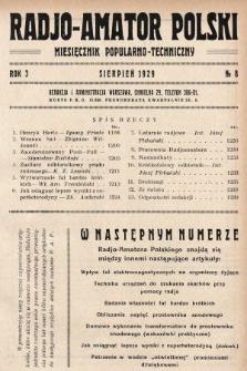 Radjo-Amator Polski : miesięcznik popularno-techniczny. 1929, nr8