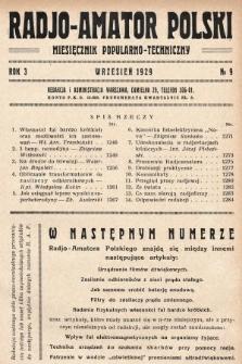 Radjo-Amator Polski : miesięcznik popularno-techniczny. 1929, nr9
