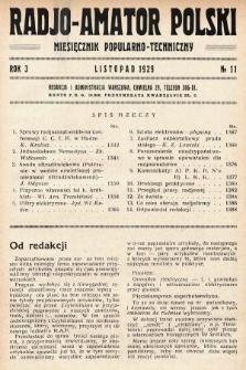 Radjo-Amator Polski : miesięcznik popularno-techniczny. 1929, nr11
