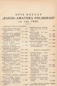 Radjo-Amator Polski : miesięcznik popularno-techniczny. 1930, spis rzeczy
