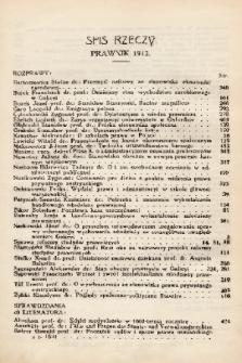 Prawnik : miesięcznik wydawany przez Bibliotekę Słuchaczów Prawa we Lwowie. 1913, spis rzeczy
