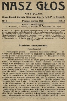 Nasz Głos : organ Komisji Zarządu Głównego [Związku Polskiego Nauczycielstwa Szkół Powszechnych] w Poznaniu : miesięcznik. R. 2, 1926, nr3
